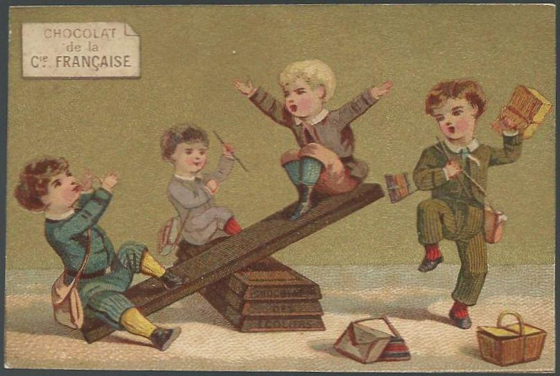 Victorian Trade Card for Chocolat de la Cie Francaise with School Boys Playing