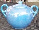 Blue Lustre Sugar Bowl With Handles and Lid