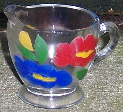 Vintage Clear Glass Creamer with Handpainted Red and Blue Flowers