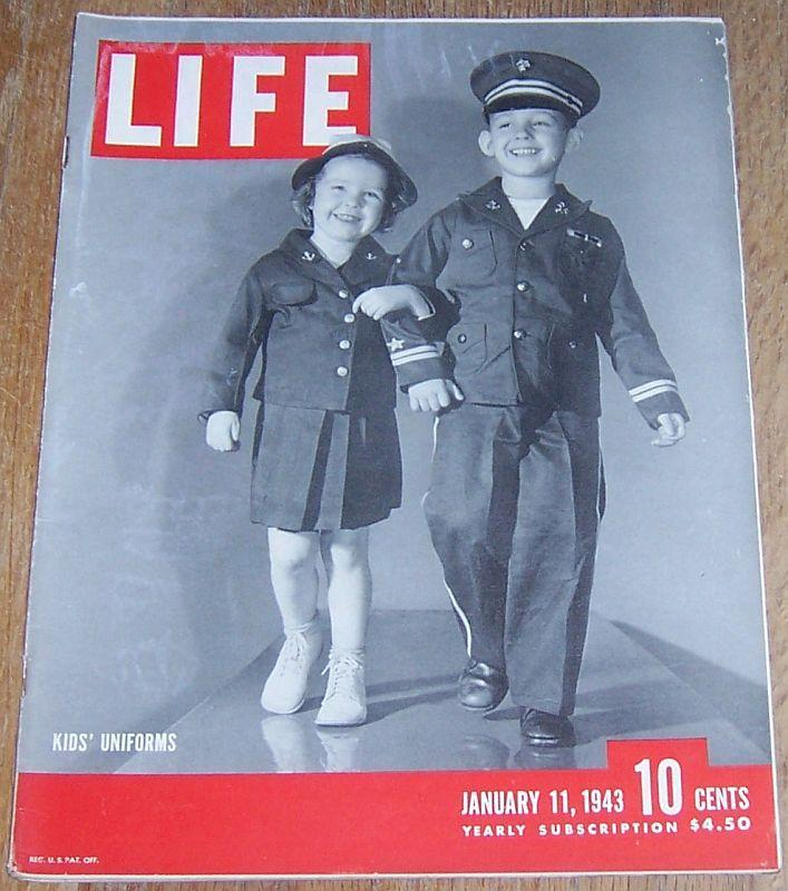Life Magazine January 11, 1943 Kids' Uniforms Cover/Food Rationing/Moscow/ROTC