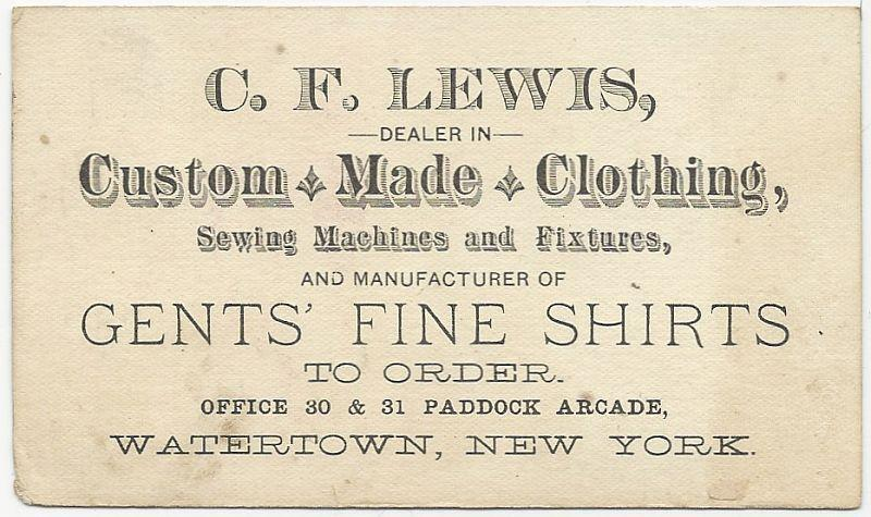 Victorian Trade Card for C.F. Lewis Custom Made Clothing, Watertown, New York