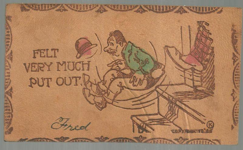 Leather Postcard With Man Getting Boot, Felt Very Much Put Out