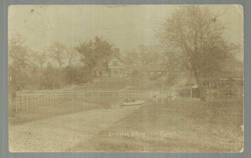 Real Photo Postcard of Eccleston Ferry, Chester, England 1909
