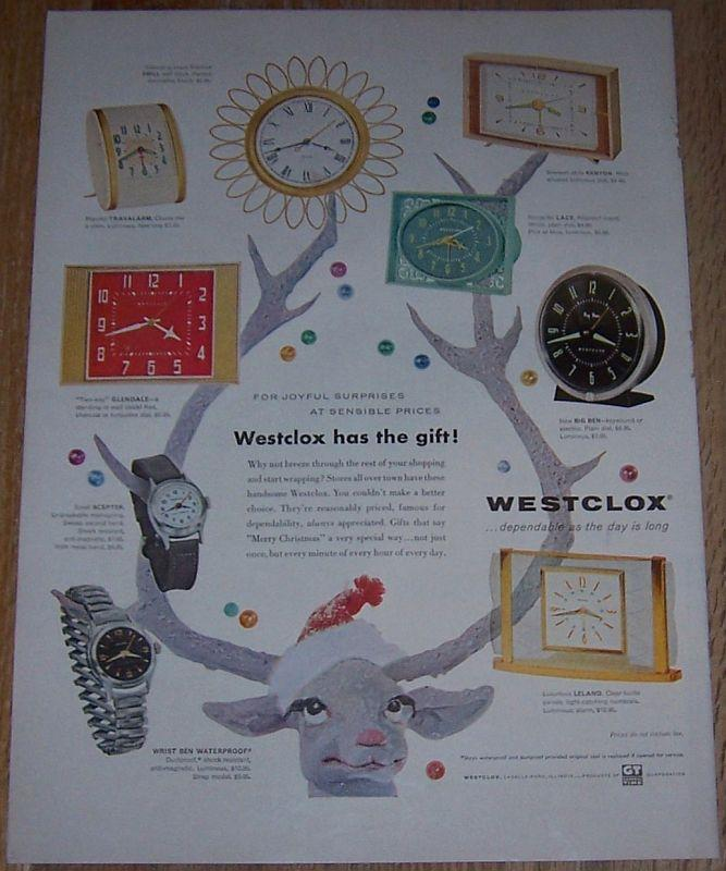 1957 Westclox Life Magazine Color Christmas Advertisement For Joyful Suprises