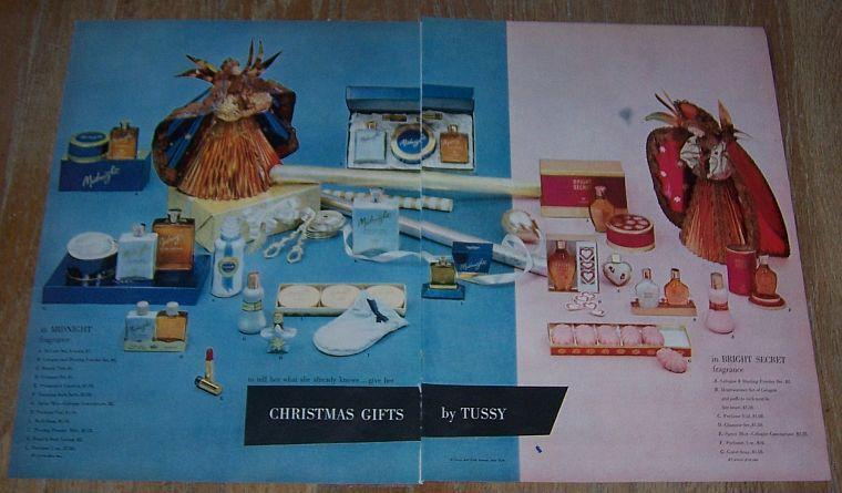 1957 Christmas Gifts by Tussy Double Page Life Magazine Color Advertisement