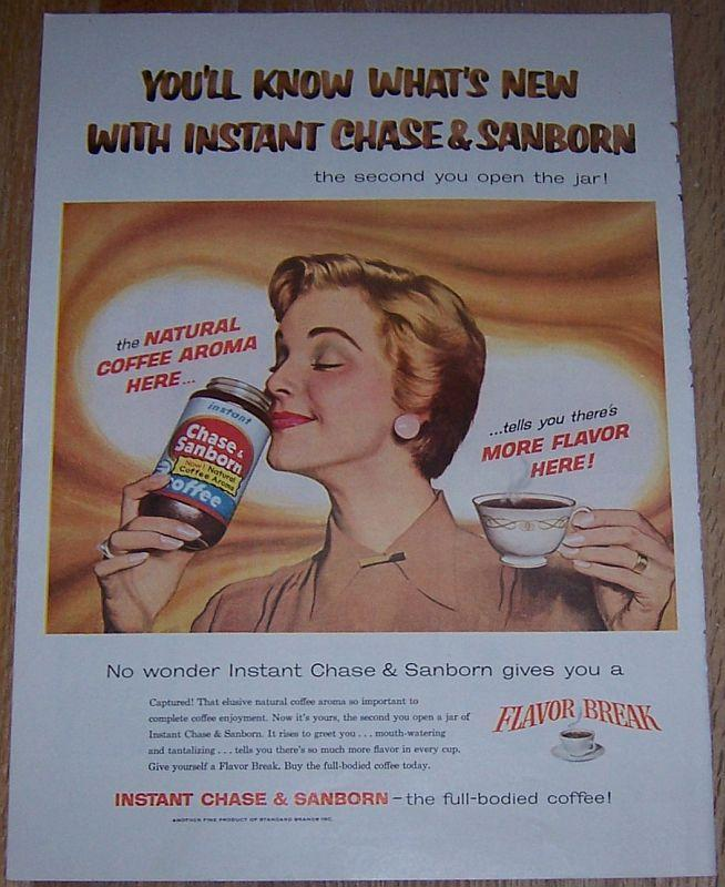 1957 Chase & Sanborn Instant Coffee Life Magazine Color Advertisement What's New