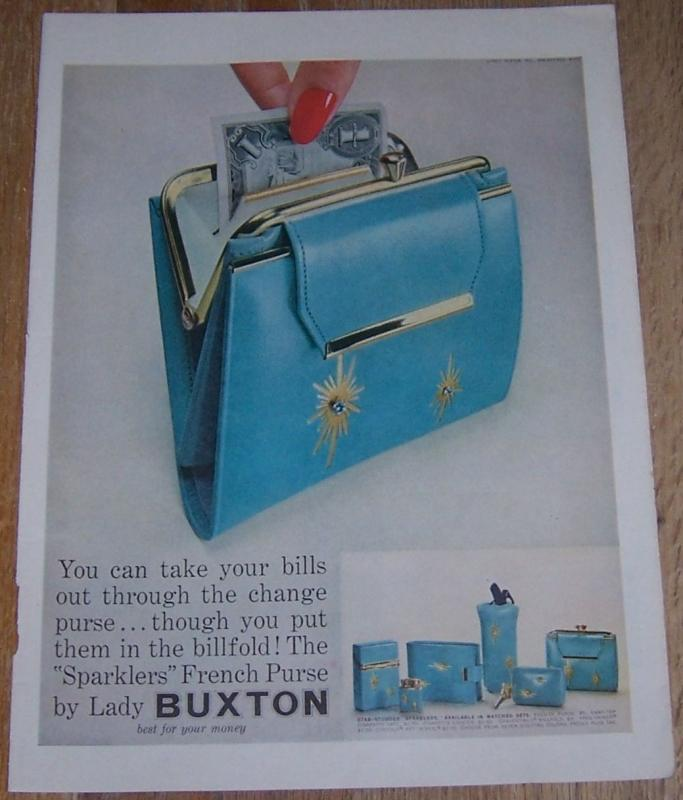 1957 Lady Buxton Sparklers French Purse Life Magazine Color Advertisement