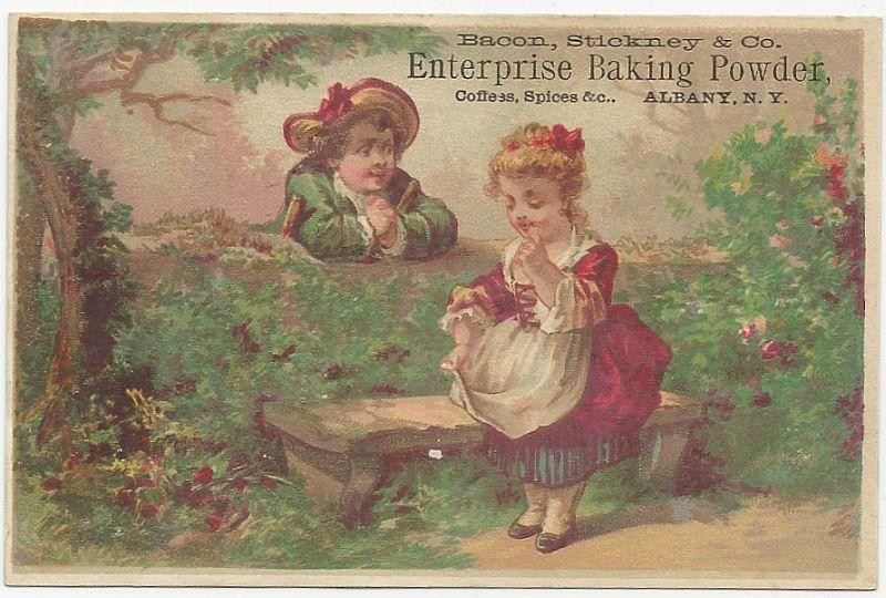 Victorian Trade Card for Bacon, Stickney Baking Powder with Courting Couple