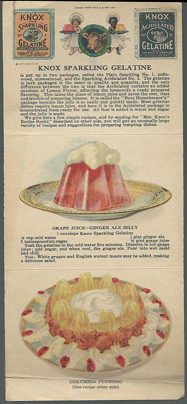 Vintage Fold Out Pamphlet of Recipes Using Knox Sparkling Gelatine
