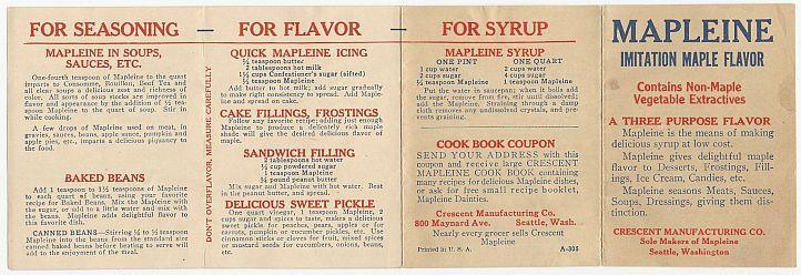 Vintage Fold Out Pamphlet of Recipes Using Mapleine Imitation Maple Flavor