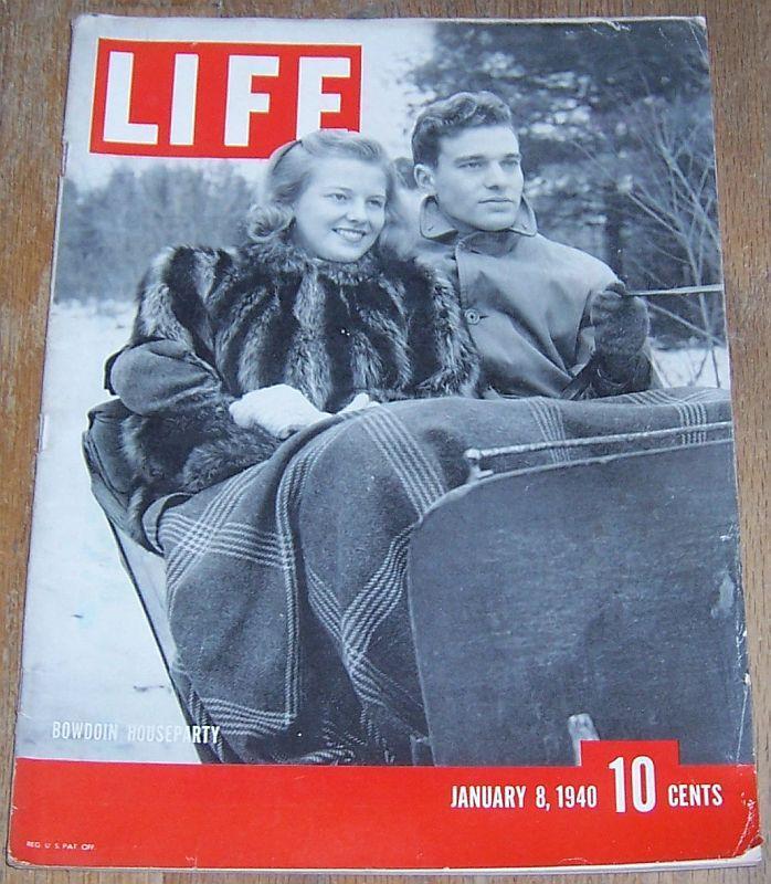 Life Magazine January 8, 1940 Bowdoin College Maine/Badminton/Buddhism/Germany