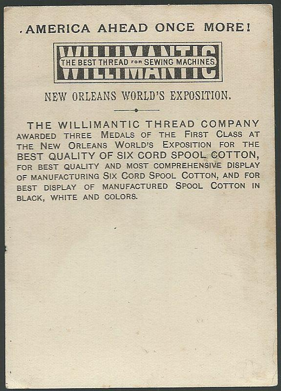 Victorian Trade Card Williamantic Six Cord Spool CottonThread with Young Girl