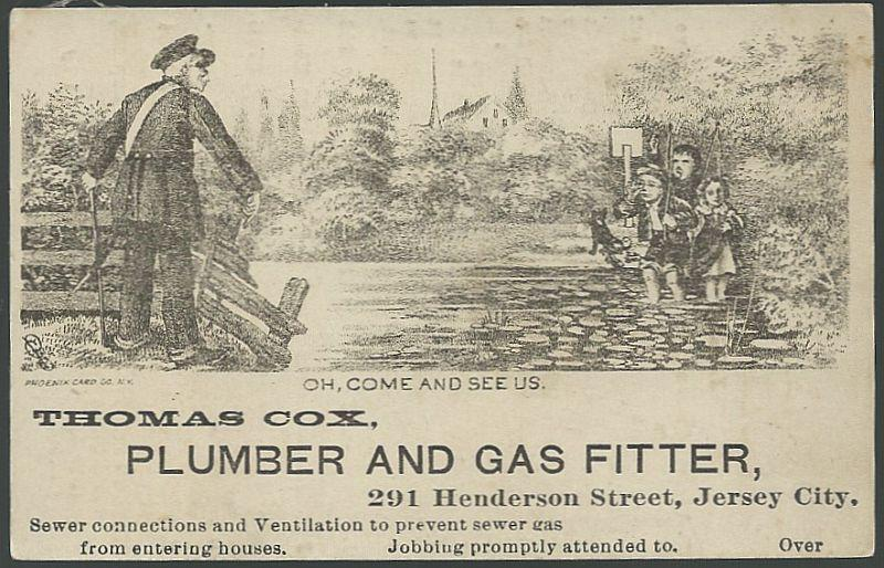 Victorian Trade Card for Thomas Cox Plumber Children Taunting a Policeman