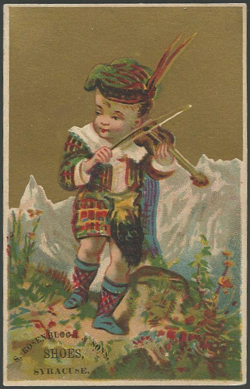 Victorian Trade Card for S. Rosenbloom Shoes, Syracuse With Scottish Boy Fiddler