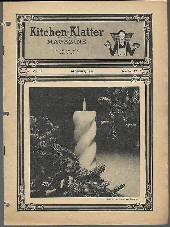 Kitchen Klatter Magazine December 1949 Christmas Fun/Holiday Recipes/Pine Cones