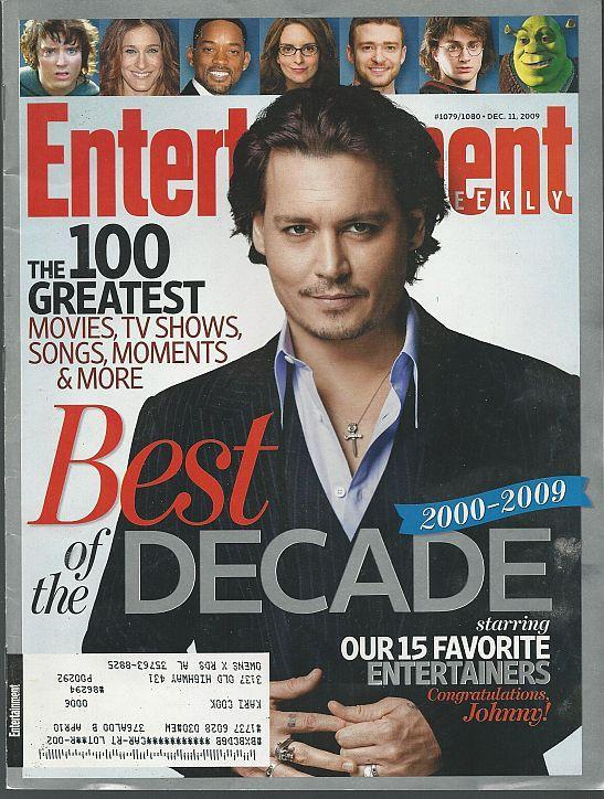 Entertainment Weekly Magazine December 11, 2009 Johnny Depp Best of the Decade