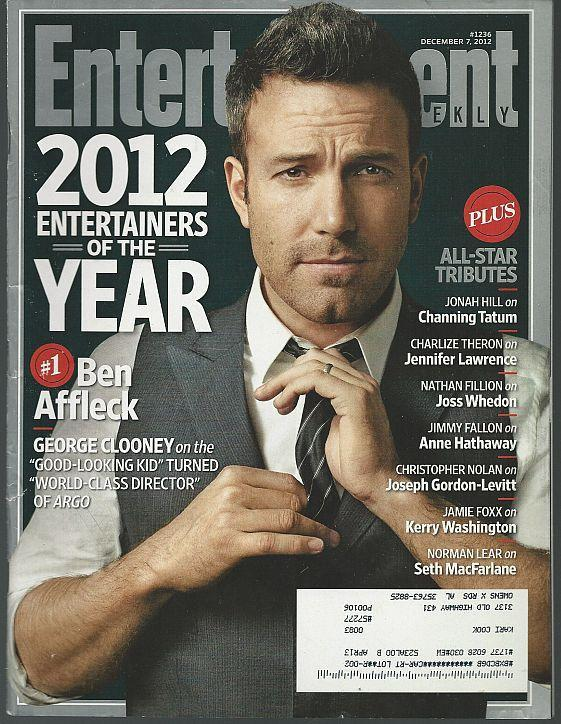 Entertainment Weekly Magazine December 7, 2012 Ben Affleck on Cover/Entertainers
