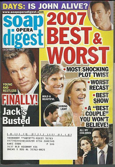 Soap Opera Digest December 11, 2007 Best and Worst of 2007/Michael Park