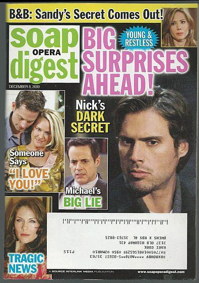 Soap Opera Digest December 8, 2009 Young and Restless Big Surprises Ahead