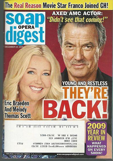 Soap Opera Digest December 22, 2009 YR Nikki Victor are Back/2009 Year in Review