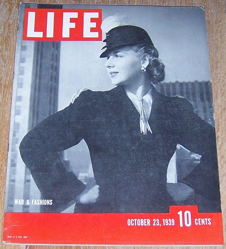 Life Magazine October 23, 1939 War Fashion Cover/Detroit/Warsaw/George Abbott