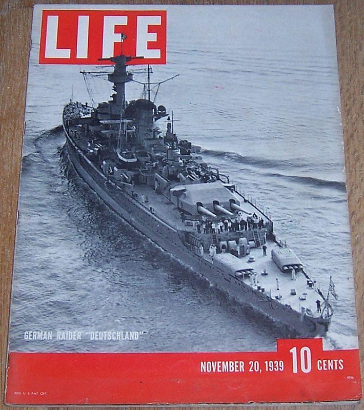 Life Magazine November 20, 1939 German Sea Raiders/Alfred Hitchcok/British Navy
