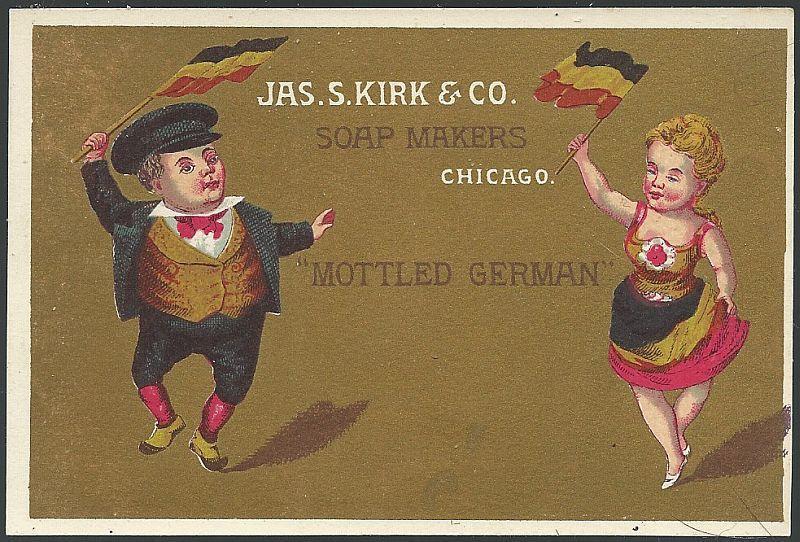 Victorian Trade Card for J S Kirk Soaps with Mottled German, Dancing Germans
