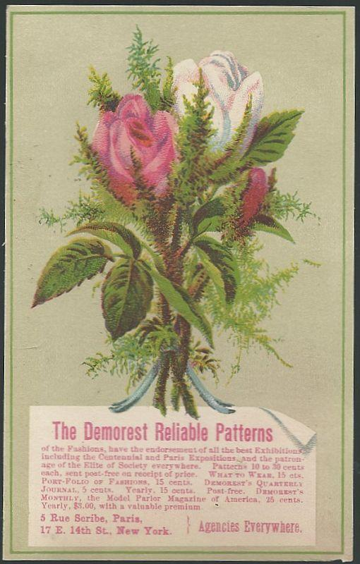 Victorian Trade Card for Demorest Reliable Patterns with Rose Bouquet