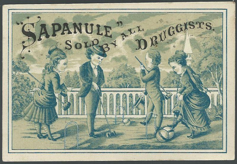 Victorian Trade Card for Sapanule with Couples Playing Croquet