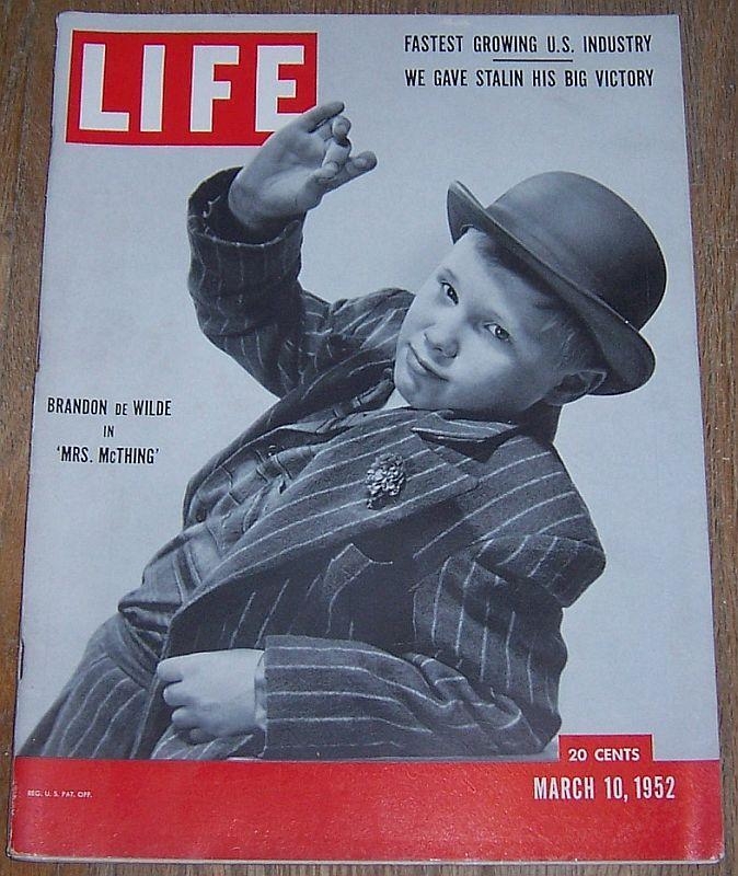 Life Magazine March 10, 1952 Brandon de Wilde/Skiing/Lamps/Natural Gas/Stalin