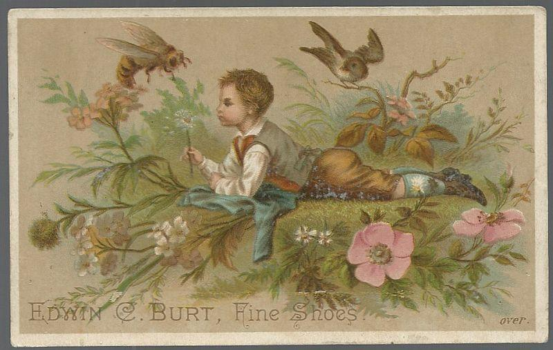 Victorian Trade Card for Edwin C. Burt Fine Shoes with Boy in Field of Flowers