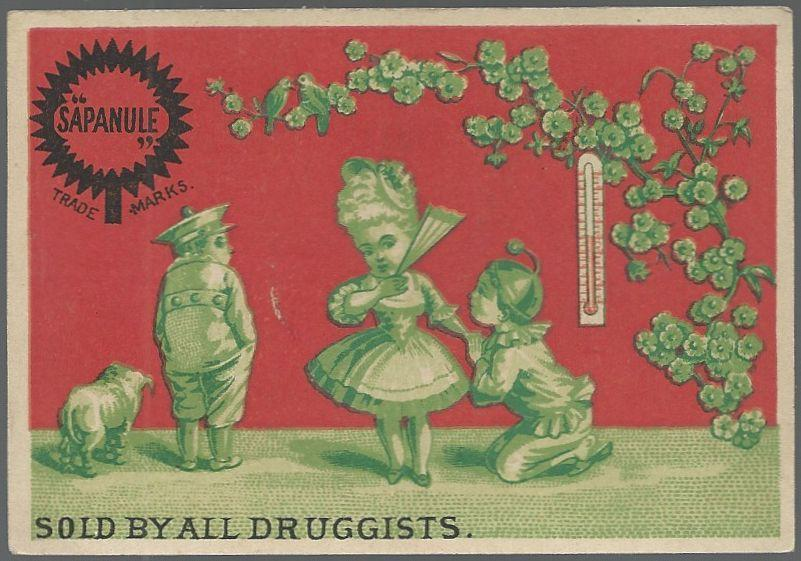 Victorian Trade Card for Sapanule Lotion with Flirty Girl with Two Boys