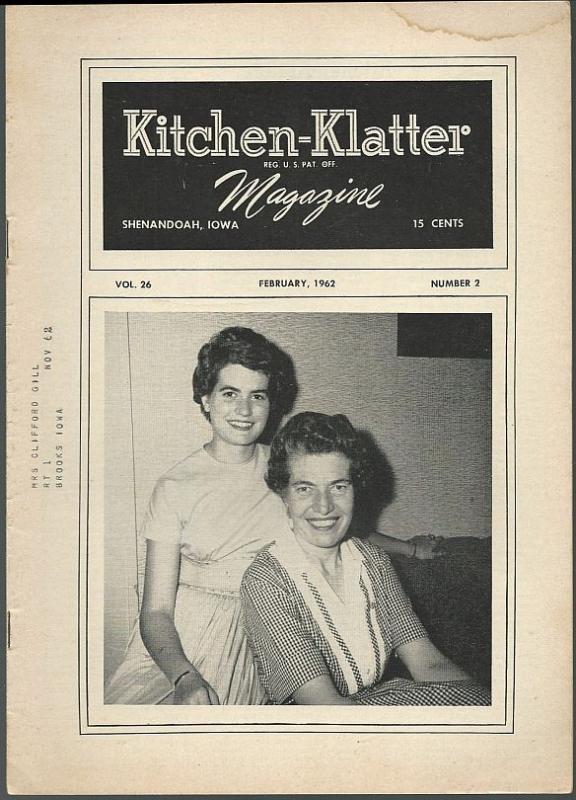 Kitchen Klatter Magazine February 1962 Valentine Party/Rosary Vine/Recipes