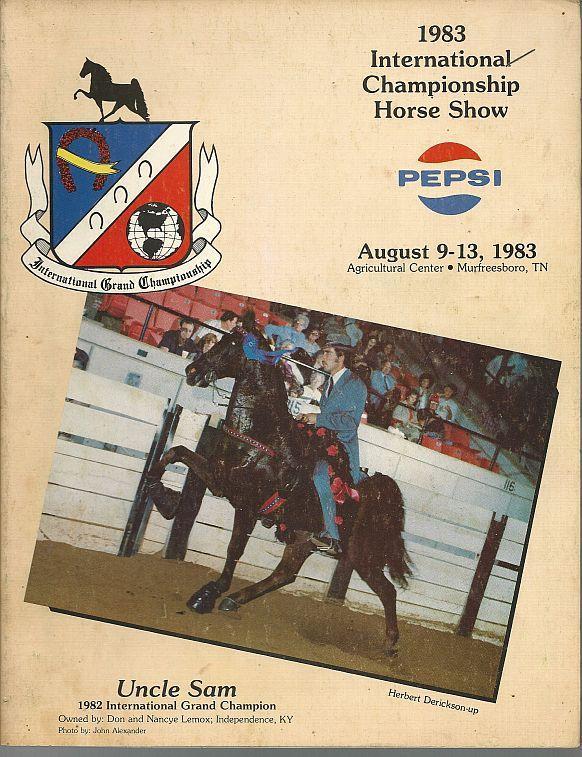 Official Program 1983 Championship Horse Show August 9-13, 1983 Murfreesboro TN