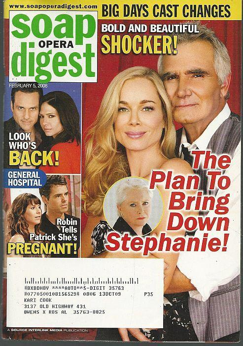 Soap Opera Digest February 5, 2008 Bold and Beautiful Cover/Catherine Hickland