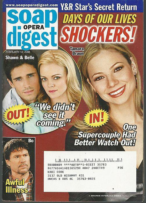 Soap Opera Digest February 12, 2008 DOOL  Shockers Cover/Grayson McCouch