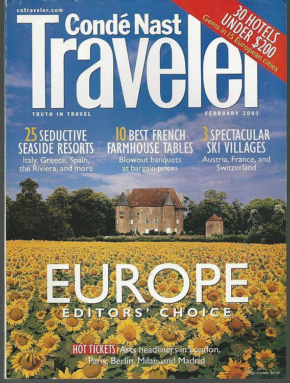 Conde Nast Traveler February 2001 Europe by the Sea/Skiing/French Artisnal Farms