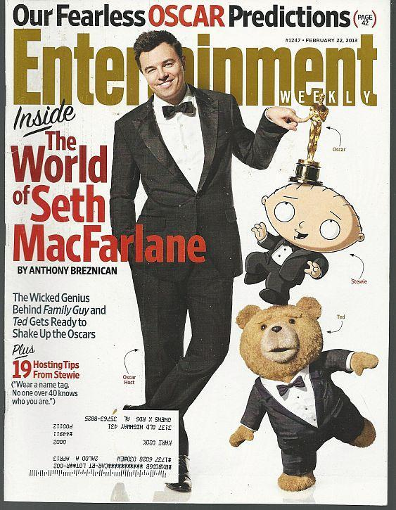 Entertainment Weekly Magazine February 22, 2013 Seth MacFarlane Cover/Oscars