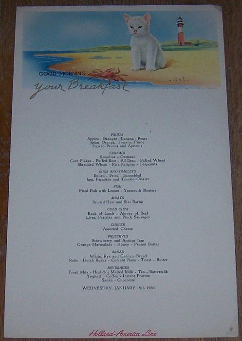 Vintage Breakfast Menu for Holland-America Line, Saturday, January 19, 1966