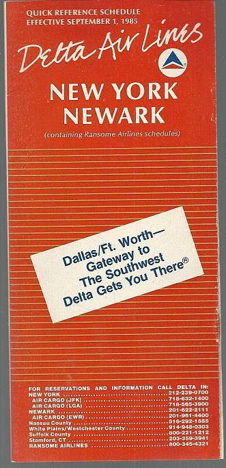 Delta Quick Reference Schedule for New York/Newark, Effective September 1, 1985