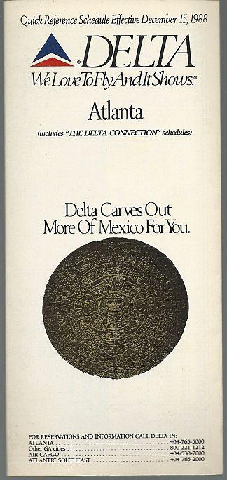 Delta Quick Reference Schedule for Atlanta, Effective December 15, 1988