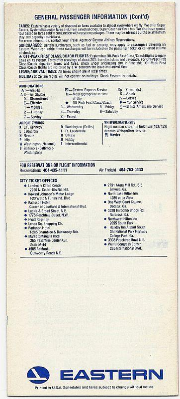 Eastern Airline Timetable for Atlanta, Effective December 15, 1988
