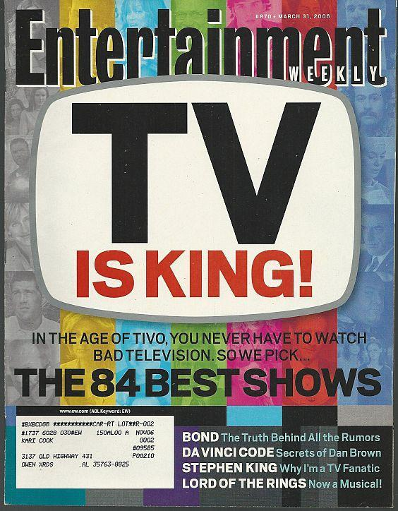 Entertainment Weekly Magazine March 31, 2006 TV is King on Cover/Pink/Dan Brown