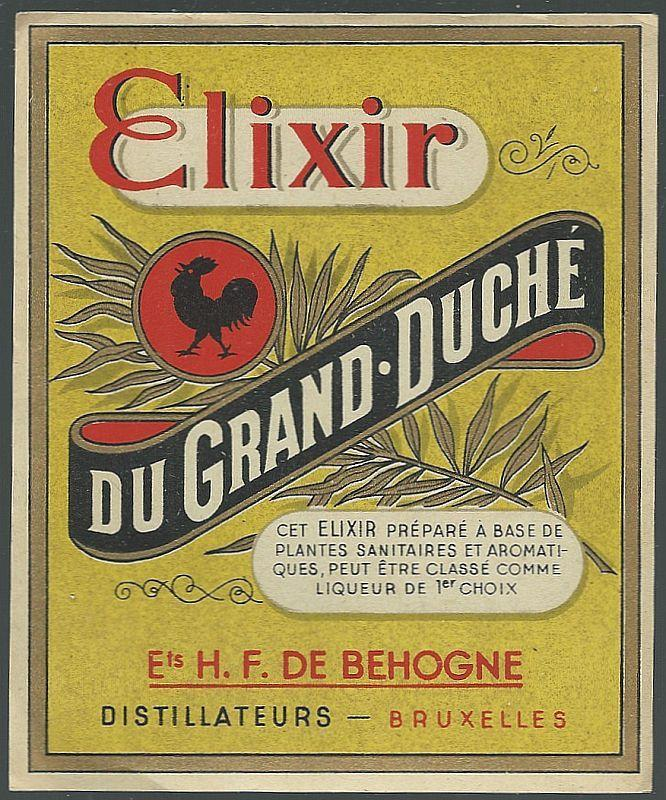 Vintage Label for Elixir du Grand Duche, Bruxelles