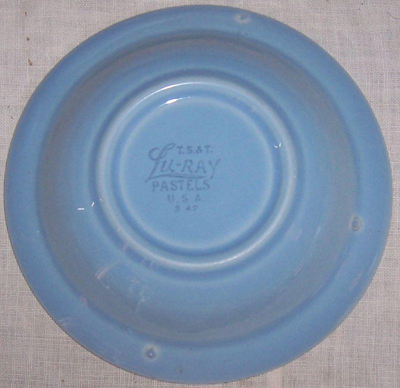 Vintage Taylor Smith Taylor China Lu Ray Pastel Blue Berry Bowl