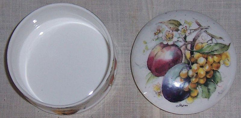 Vintage Staffordshire China Small Lidded Round Box with Fruit
