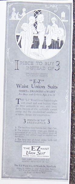 EZ Waist Union Suits For Children 1921 Advertisement