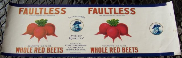 Faultless Brand Whole Red Beets Can Label