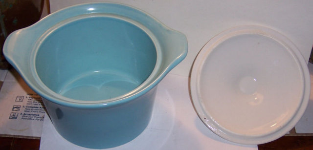 Shawnee Turquoise and White Covered Casserole