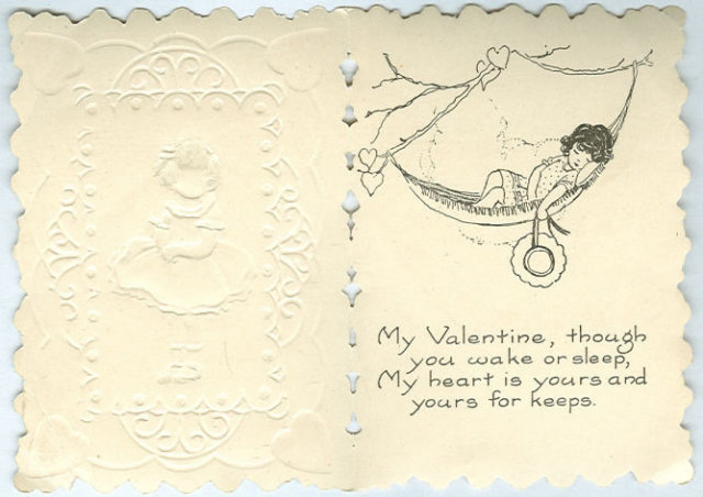 Victorian Valentine with Little Girl in Blue Dress